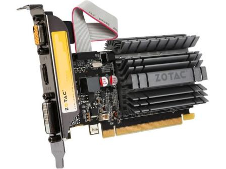 ZOTAC GeForce GT 730 DirectX 12 feature level 11 0 ZT-71113-20L 2GB 64-Bit DDR3 PCI Express 2.0 x16 HDCP Ready Zone Edition Video Card