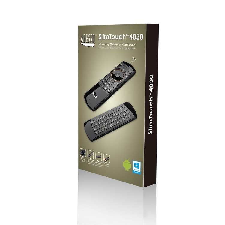 Adesso Wkb-4030Ub Wireless 2-In-1 Air Mouse Flip Over Mini KyBrd Remote