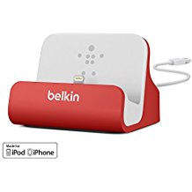 Belkin F8J045Btred Lightning Chargesync Dock Red